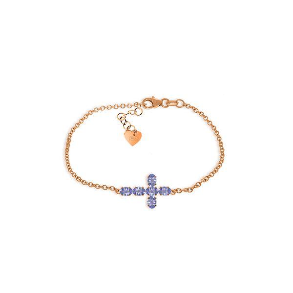 Genuine 1.70 ctw Tanzanite Bracelet 14KT Rose Gold - REF-70R6P