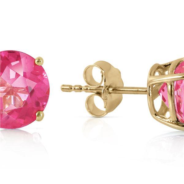 Genuine 3.1 ctw Pink Topaz Earrings 14KT Yellow Gold - REF-25W3Y