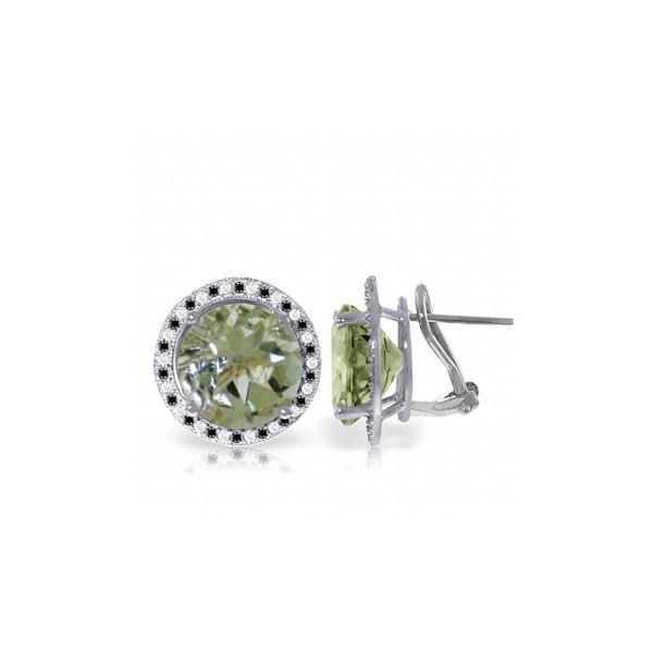 Genuine 10.40 ctw Amethyst, White & Black Diamond Earrings 14KT White Gold - REF-122W4Y