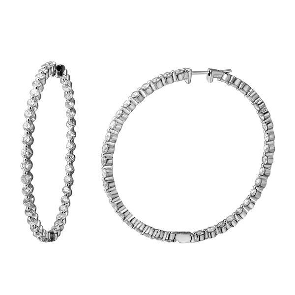 7.5 CTW White Round Diamond Hoop  Earring 14K White Gold - REF-836V4T