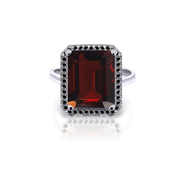 Genuine 7.7 ctw Garnet & Black Diamond Ring 14KT White Gold - REF-87Y7F