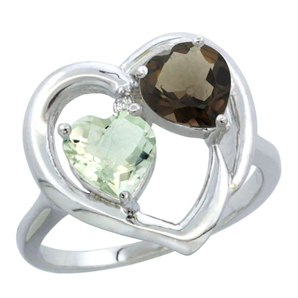 2.61 CTW Diamond, Amethyst & Quartz Ring 10K White Gold - REF-23V7R