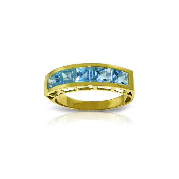 Genuine 2.25 ctw Blue Topaz Ring 14KT Yellow Gold - REF-54V2W