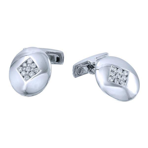 Natural 0.49 CTW Diamond Cuff Links 14K White Gold - REF-139N5Y