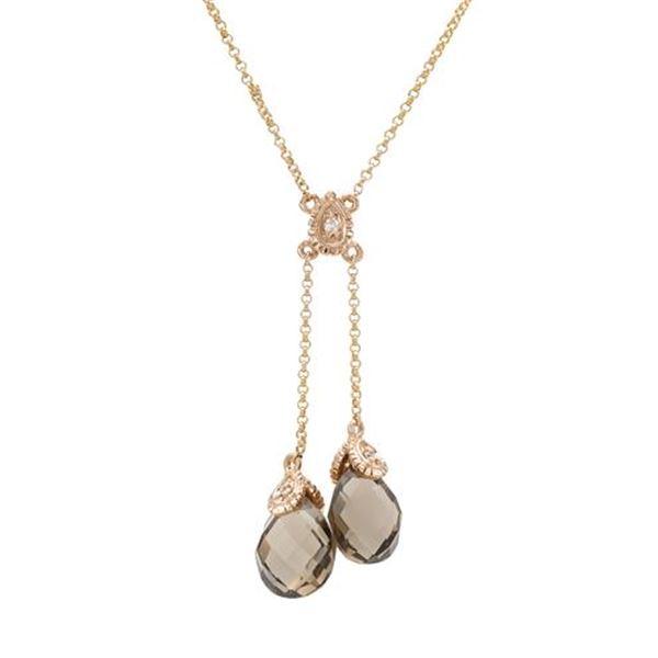 Natural 5.13 CTW Smoky Topaz & Diamond Necklace 14K Rose Gold - REF-32K4R