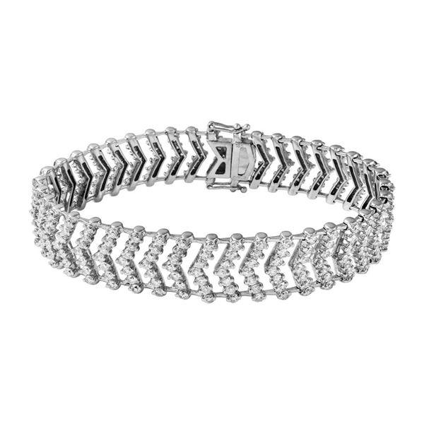 Natural 7.6 CTW Diamond Bracelet 18K White Gold - REF-952W2H