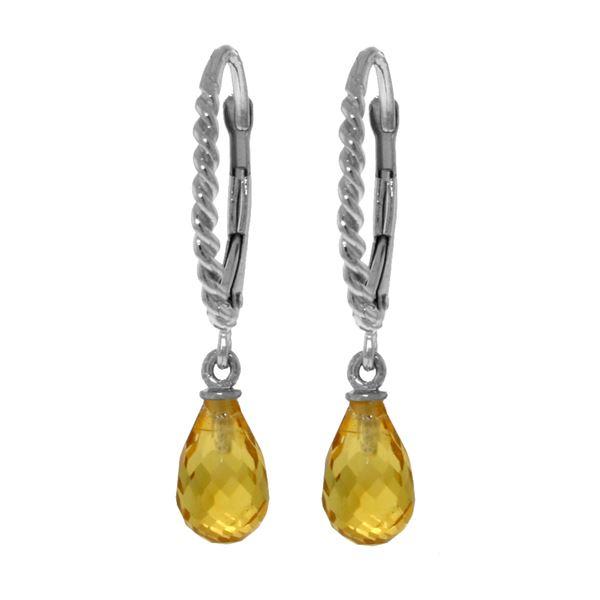 Genuine 3 ctw Citrine Earrings 14KT White Gold - REF-24P3H