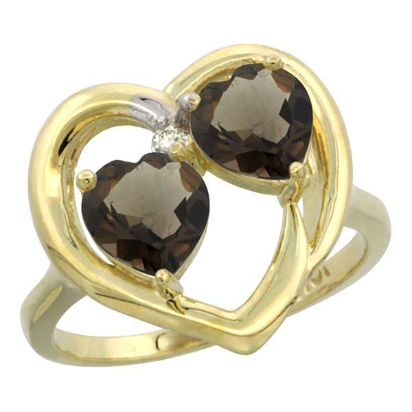2.60 CTW Quartz & Quartz Ring 10K Yellow Gold - REF-23R7H