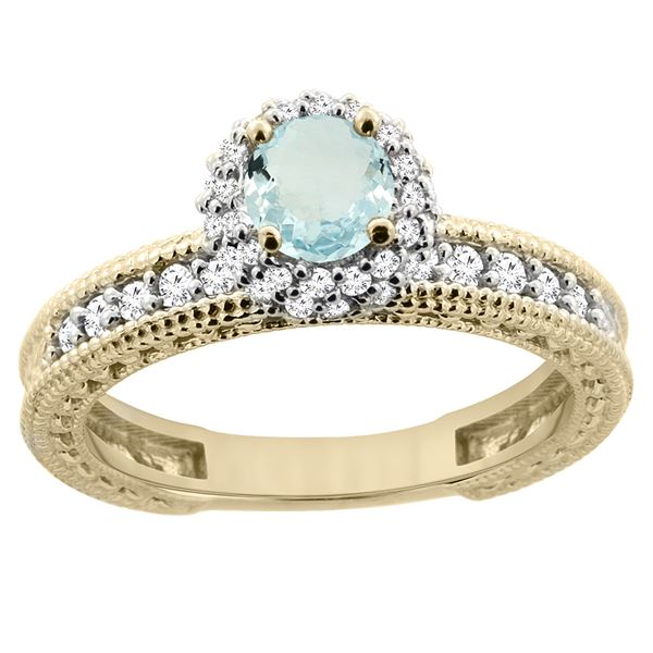 0.77 CTW Aquamarine & Diamond Ring 14K Yellow Gold - REF-67M2K
