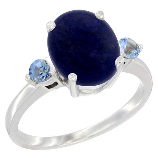 2.74 CTW Lapis Lazuli & Blue Sapphire Ring 10K White Gold - REF-22M5K