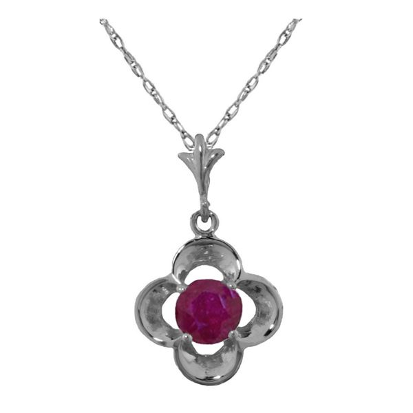 Genuine 0.55 ctw Ruby Necklace 14KT White Gold - REF-25T4A