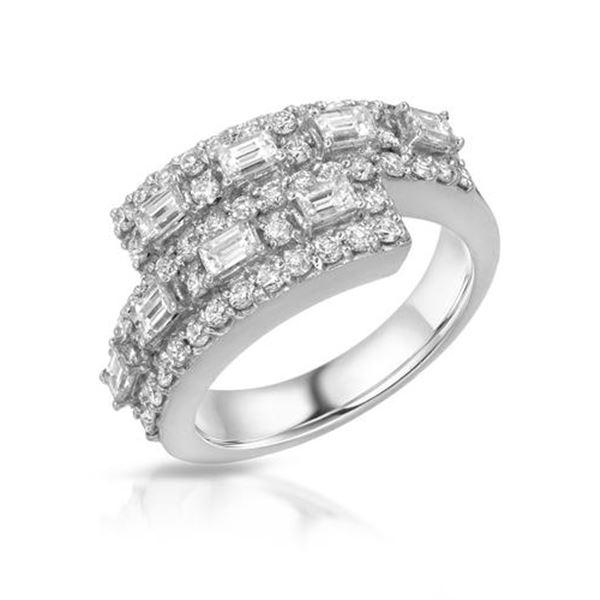 Natural 1.76 CTW Diamond & Baguette Ring 18K White Gold - REF-285T3X
