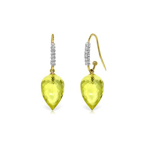 Genuine 18.18 ctw Lemon Quartz & Diamond Earrings 14KT Yellow Gold - REF-46F7Z