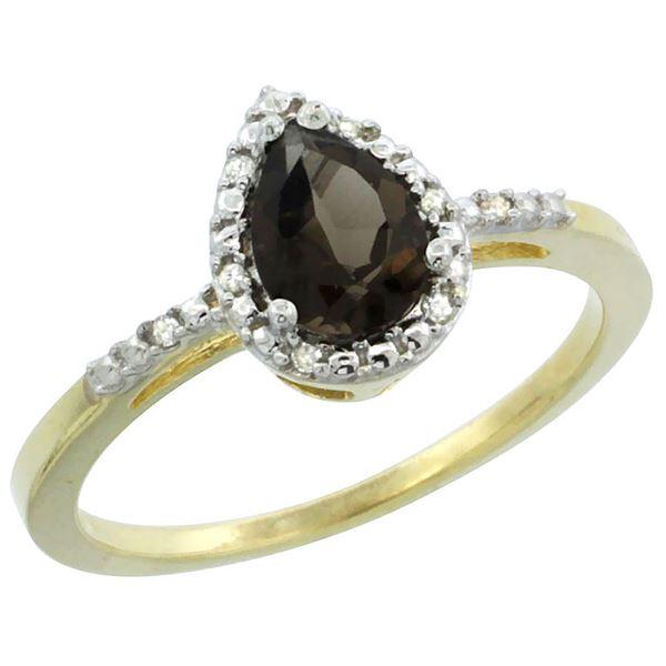1.55 CTW Quartz & Diamond Ring 10K Yellow Gold - REF-20Y7V