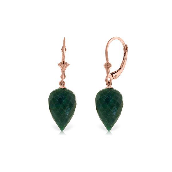 Genuine 25.7 ctw Green Sapphire Corundum Earrings 14KT Rose Gold - REF-37V7W
