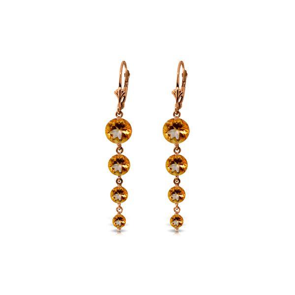 Genuine 7.8 ctw Citrine Earrings 14KT Rose Gold - REF-46X3M