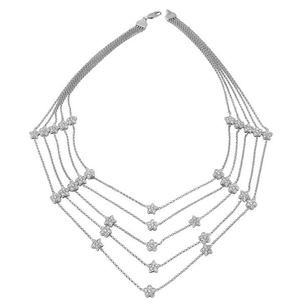 Natural 2.50 CTW Diamond Necklace 14K White Gold - REF-311N4Y
