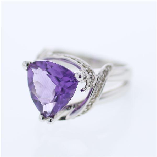 Natural 5.30 CTW Amethyst & Diamond Ring W=15MM 14K Gold - REF-95K4R