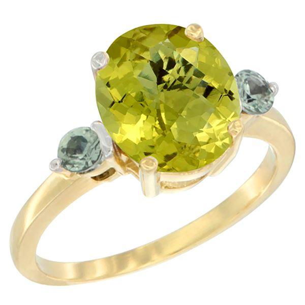 2.64 CTW Lemon Quartz & Green Sapphire Ring 10K Yellow Gold - REF-23H7M