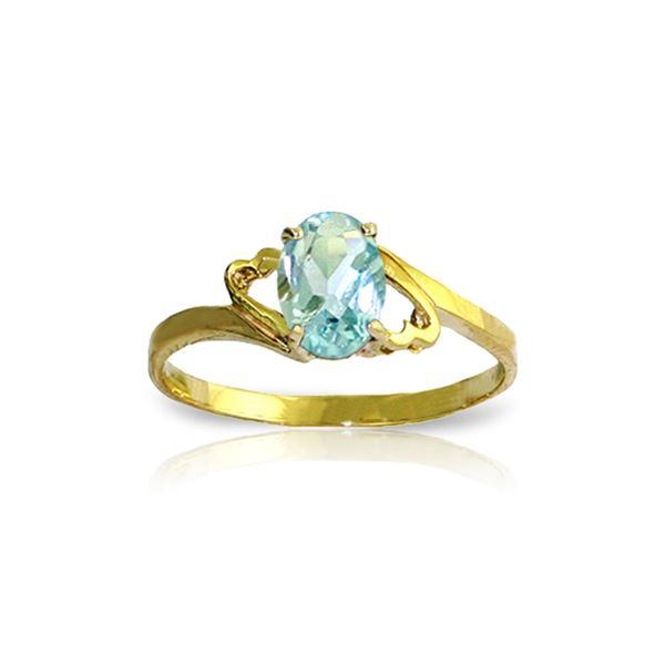 Genuine 0.75 ctw Aquamarine Ring 14KT Yellow Gold - REF-22Y5F