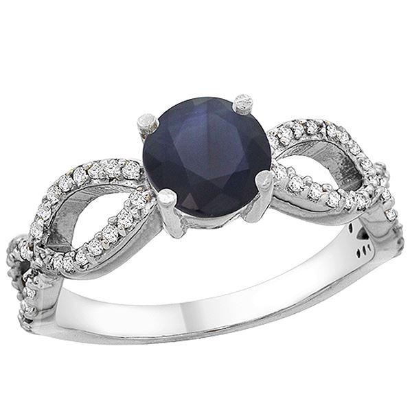 1.30 CTW Blue Sapphire & Diamond Ring 14K White Gold - REF-106Y5V