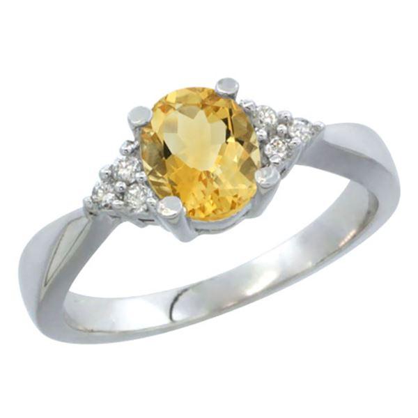 1.06 CTW Citrine & Diamond Ring 10K White Gold - REF-28F4N