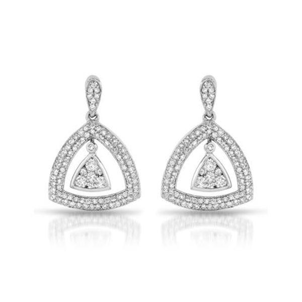 Natural 1.0 CTW Diamond Earrings 14K Gold - REF-120W6H