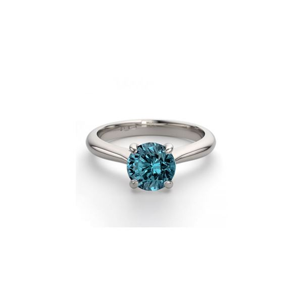 14K White Gold 0.91 ctw Blue Diamond Solitaire Ring - REF-163R2M