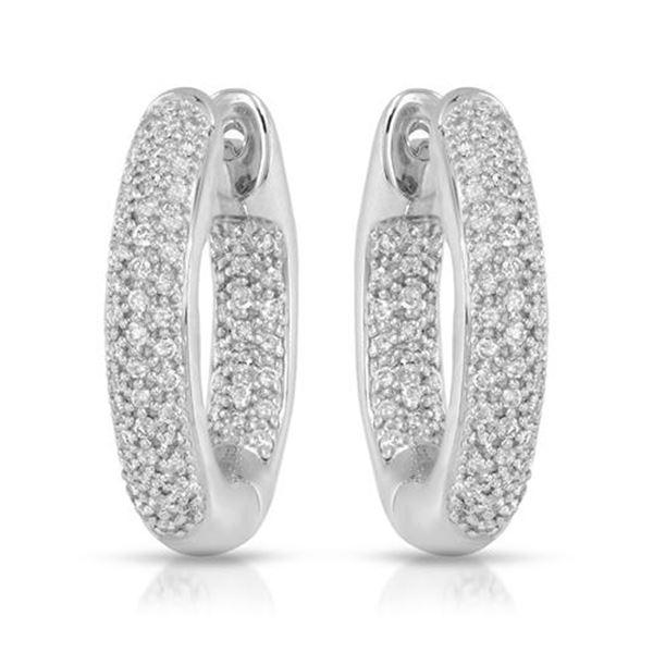 0.72 CTW White Round Diamond Hoop Earring 14K White Gold - REF-118M2H