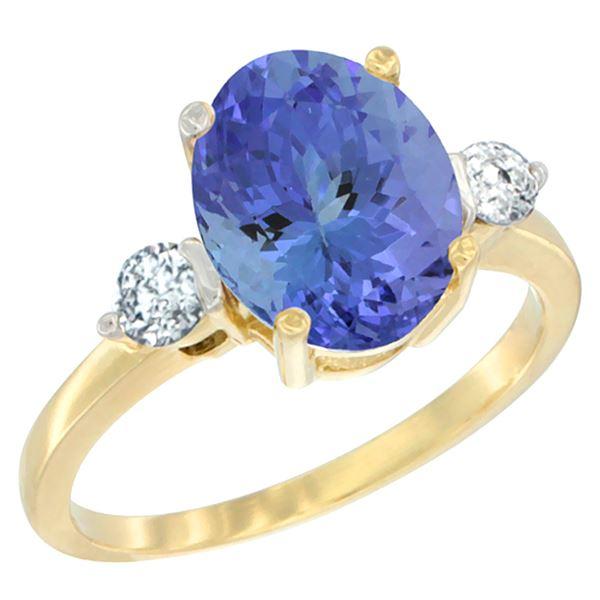2.59 CTW Tanzanite & Diamond Ring 10K Yellow Gold - REF-97A8X