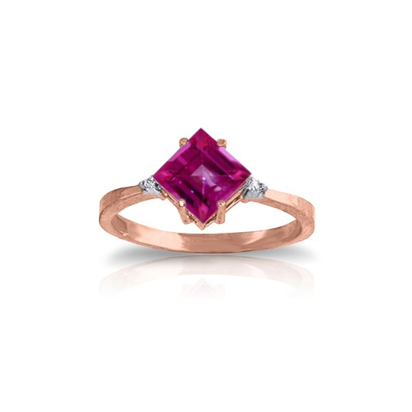 Genuine 1.77 ctw Pink Topaz & Diamond Ring 14KT Rose Gold - REF-29H2X