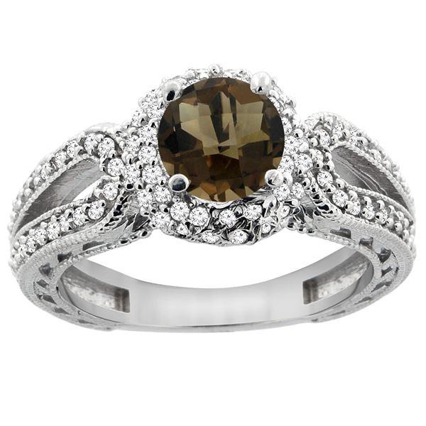 1.50 CTW Quartz & Diamond Ring 14K White Gold - REF-86Y9V