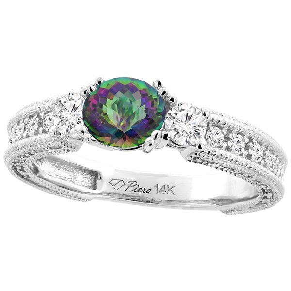 1.55 CTW Mystic Topaz & Diamond Ring 14K White Gold - REF-85M5A