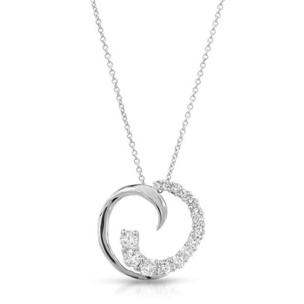 Natural 0.63 CTW Diamond Necklace 14K White Gold - REF-73W8H