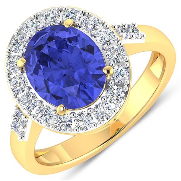 Natural 3.1 CTW Tanzanite & Diamond Ring 14K Yellow Gold - REF-117M5T