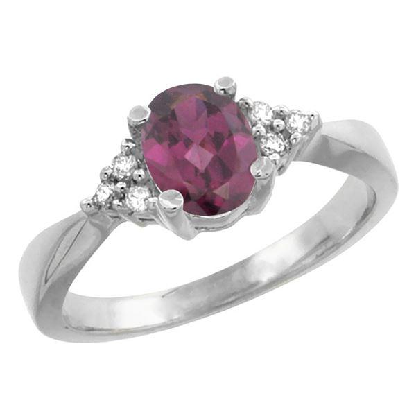1.06 CTW Rhodolite & Diamond Ring 14K White Gold - REF-36Y7V