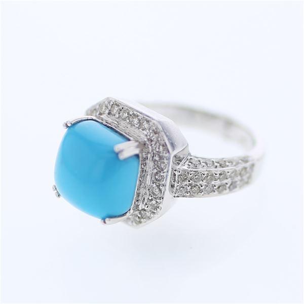 Natural 5.45 CTW Turquoise & Diamond Ring 14K White Gold - REF-133F2M
