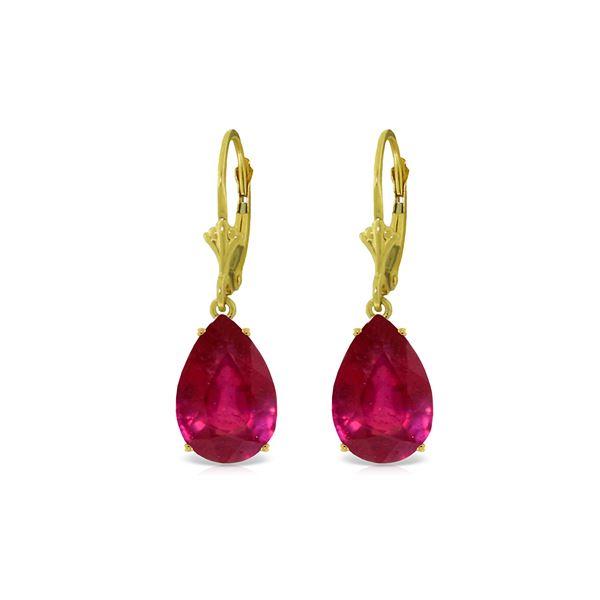 Genuine 10 ctw Ruby Earrings 14KT Yellow Gold - REF-81F2Z