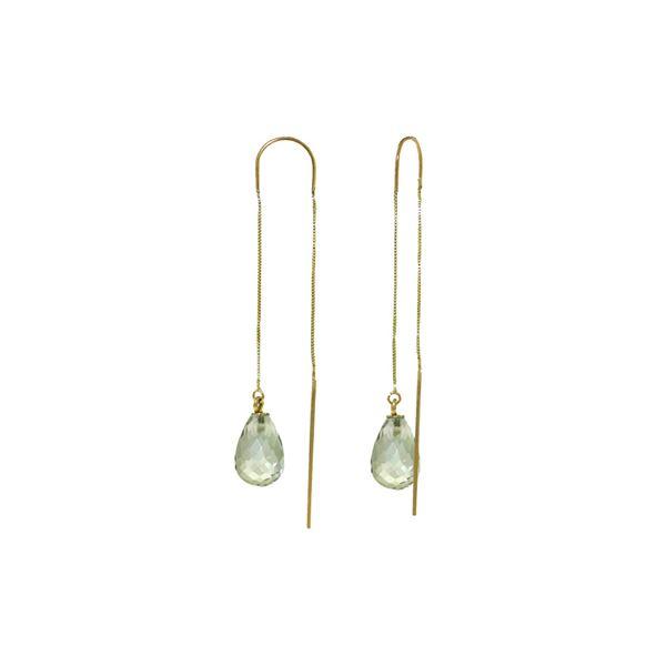Genuine 4.5 ctw Green Amethyst Earrings 14KT Yellow Gold - REF-20Y4F