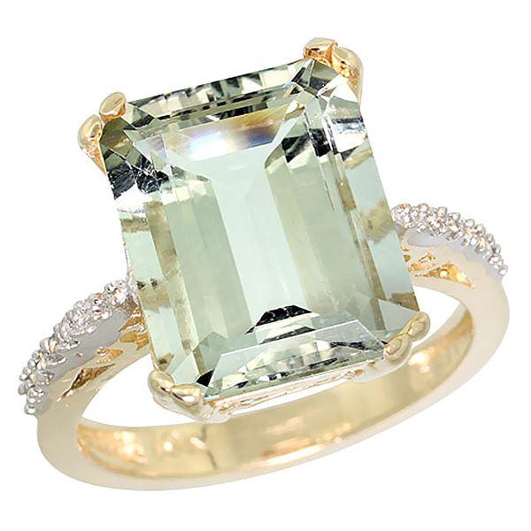 5.52 CTW Amethyst & Diamond Ring 10K Yellow Gold - REF-43F9N