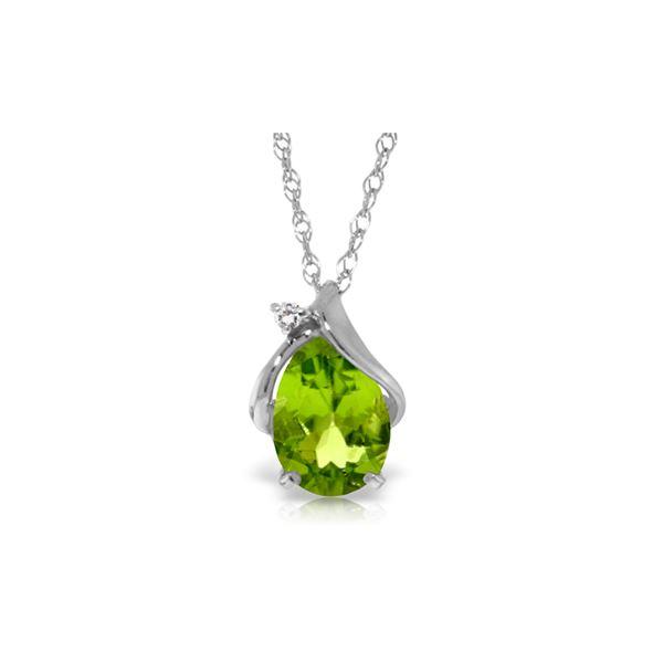 Genuine 2.13 ctw Peridot & Diamond Necklace 14KT White Gold - REF-28P8H