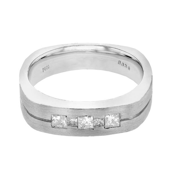Natural 0.41 CTW Princess Diamond Ring 14K White Gold - REF-135T9X