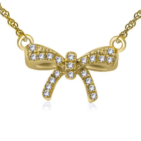 Natural 0.03 CTW Diamond Necklace 14K Yellow Gold - REF-16K2R