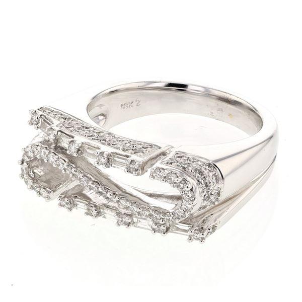 Natural 0.97 CTW Diamond & Baguette Ring 18K White Gold - REF-202T5X