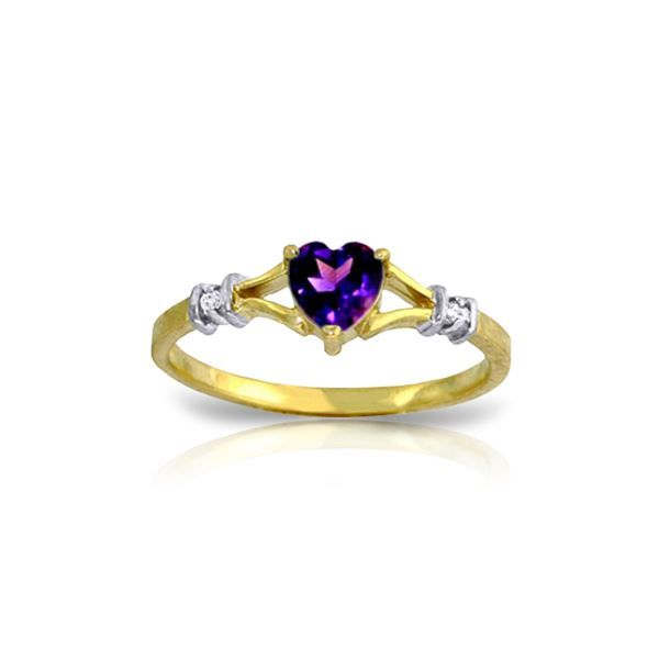 Genuine 0.47 ctw Amethyst & Diamond Ring 14KT Yellow Gold - REF-27Z2N