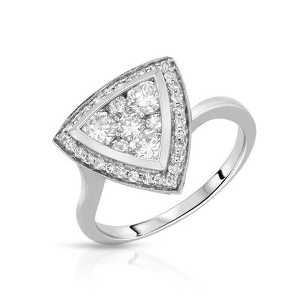 Natural 1 CTW Diamond Ring 14K White Gold - REF-141K3R