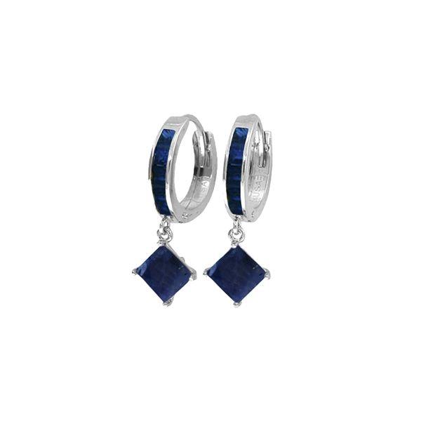 Genuine 4.2 ctw Sapphire Earrings 14KT White Gold - REF-70R3P