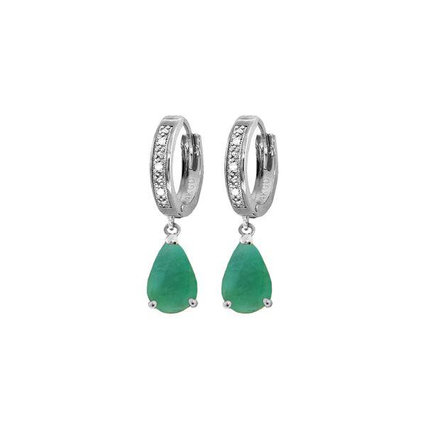 Genuine 2.03 ctw Emerald & Diamond Earrings 14KT White Gold - REF-69V7W