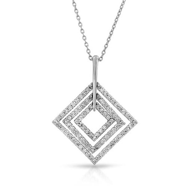 Natural 0.50 CTW Diamond Necklace 14K White Gold - REF-62W3H