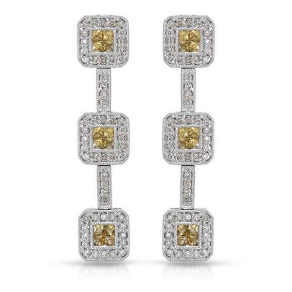 Natural 2.07 CTW Yellow Sapphire & Diamond Earrings 14K White Gold - REF-143F3M